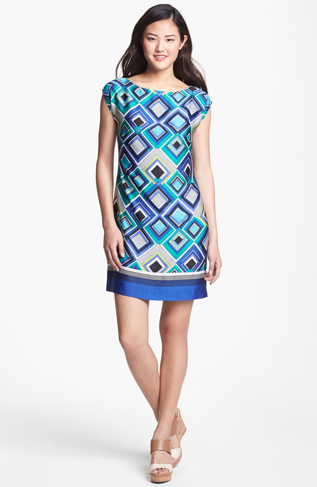 Alternate Image 1 Selected - Laundry by Shelli Segal Cap Sleeve Print Shift Dress