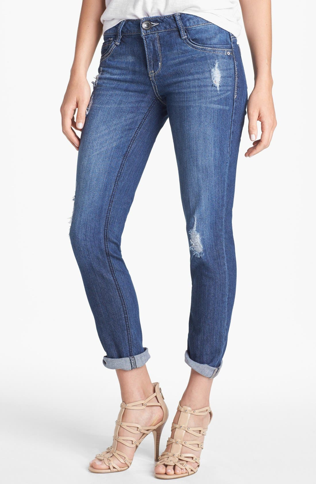 Alternate Image 1 Selected - Wit & Wisdom Distressed Boyfriend Skinny Jeans (Indigo) (Nordstrom Exclusive)