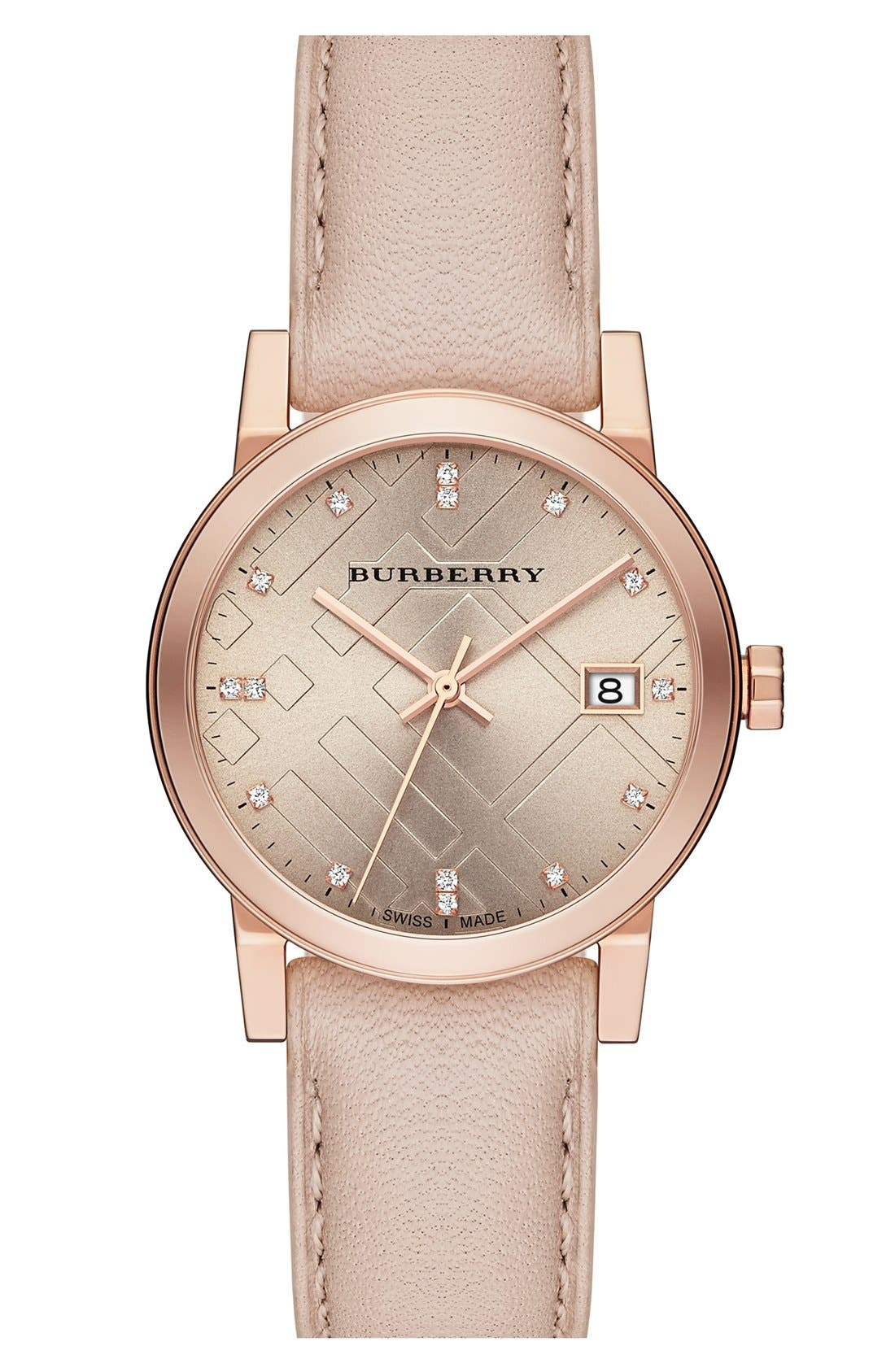 Main Image - Burberry Round Diamond Dial Leather Strap Watch, 34mm