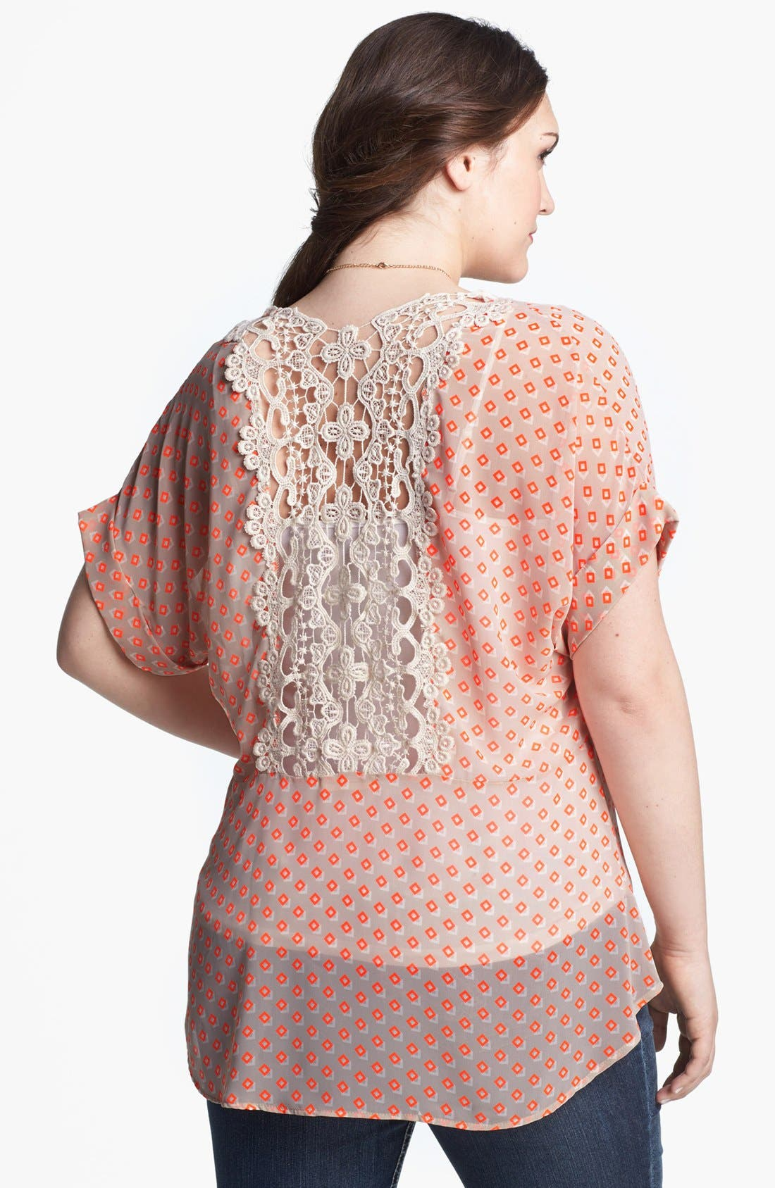 Alternate Image 2  - Painted Threads Print Lace Back Top (Juniors Plus)