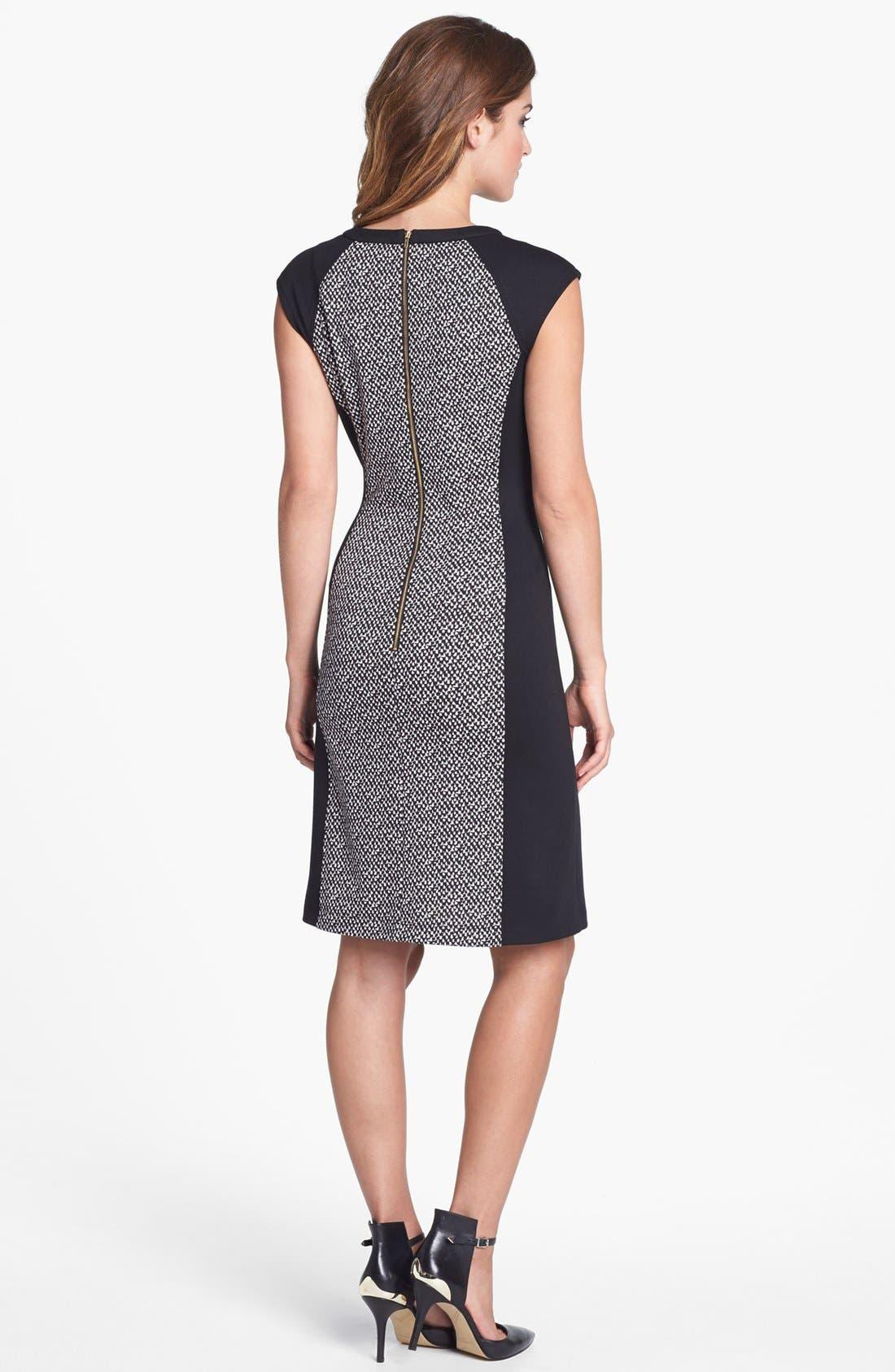 Alternate Image 2  - Calvin Klein Colorblock Print Ponte Knit Dress (Online Only)