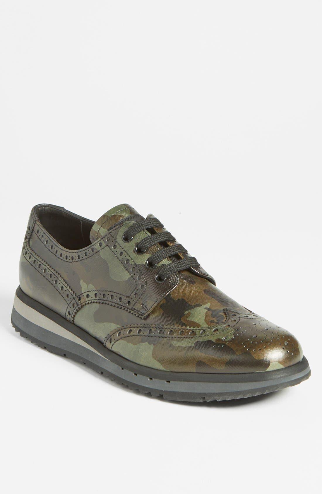 Alternate Image 1 Selected - Prada Camo Wingtip Sneaker