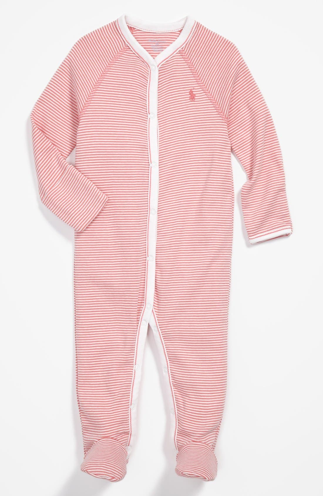 Alternate Image 1 Selected - Ralph Lauren Stripe Footie (Baby Girls)