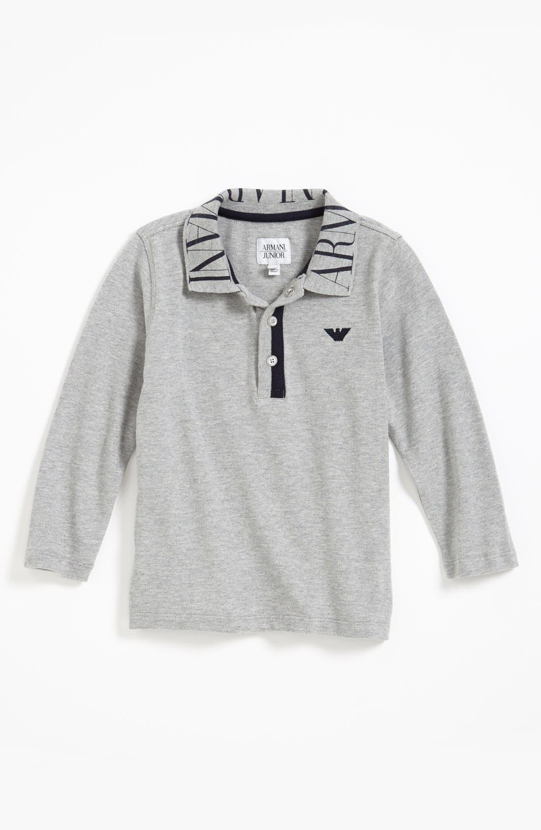 Main Image - Armani Junior Long Sleeve Polo (Toddler Boys, Little Boys & Big Boys)