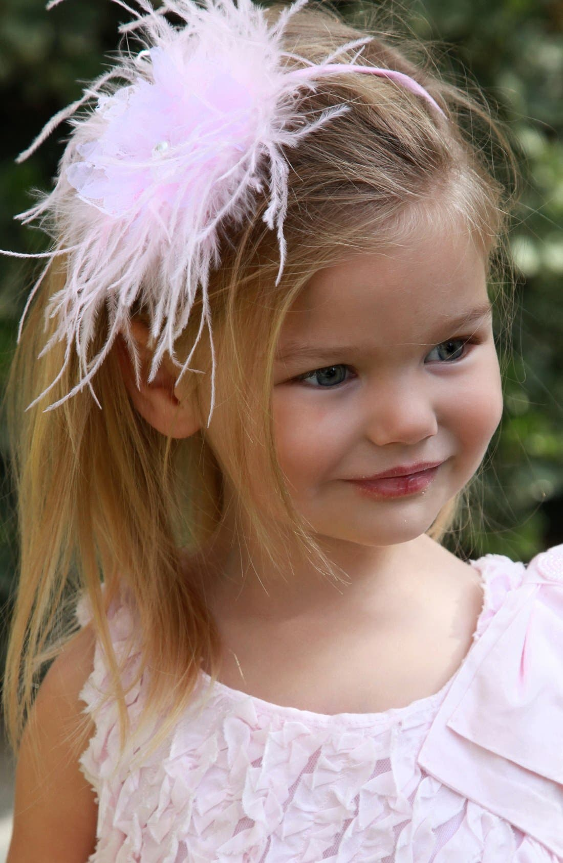 Alternate Image 2  - PLH Bows & Laces Feather Headband (Baby Girls & Toddler Girls)
