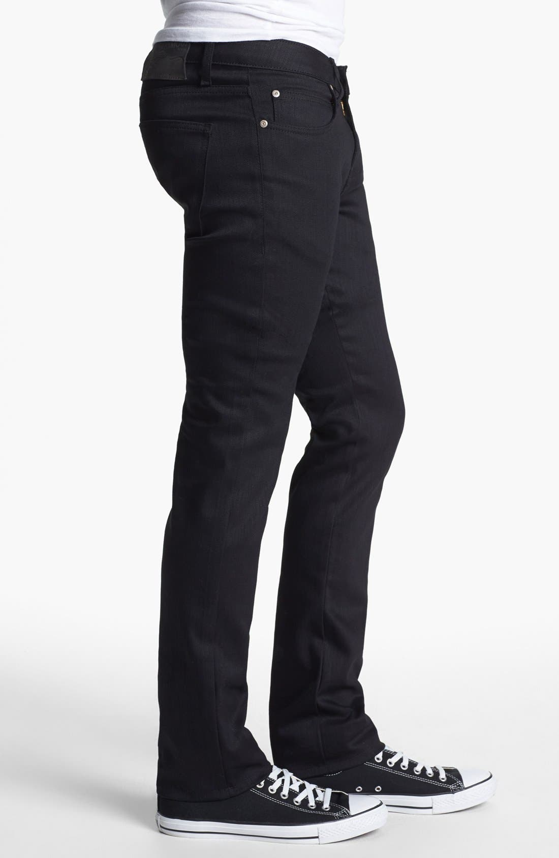 Alternate Image 3  - Naked & Famous Denim Skinny Guy Skinny Fit Jeans (Black Power Stretch)
