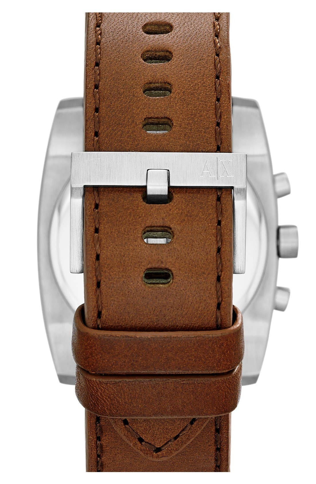 Alternate Image 2  - AX Armani Exchange Square Chronograph Leather Strap Watch, 40mm