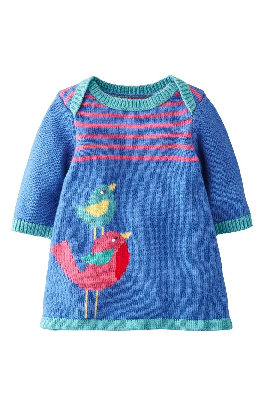 Main Image - Mini Boden 'My Baby' Intarsia Sweater Dress (Baby Girls)