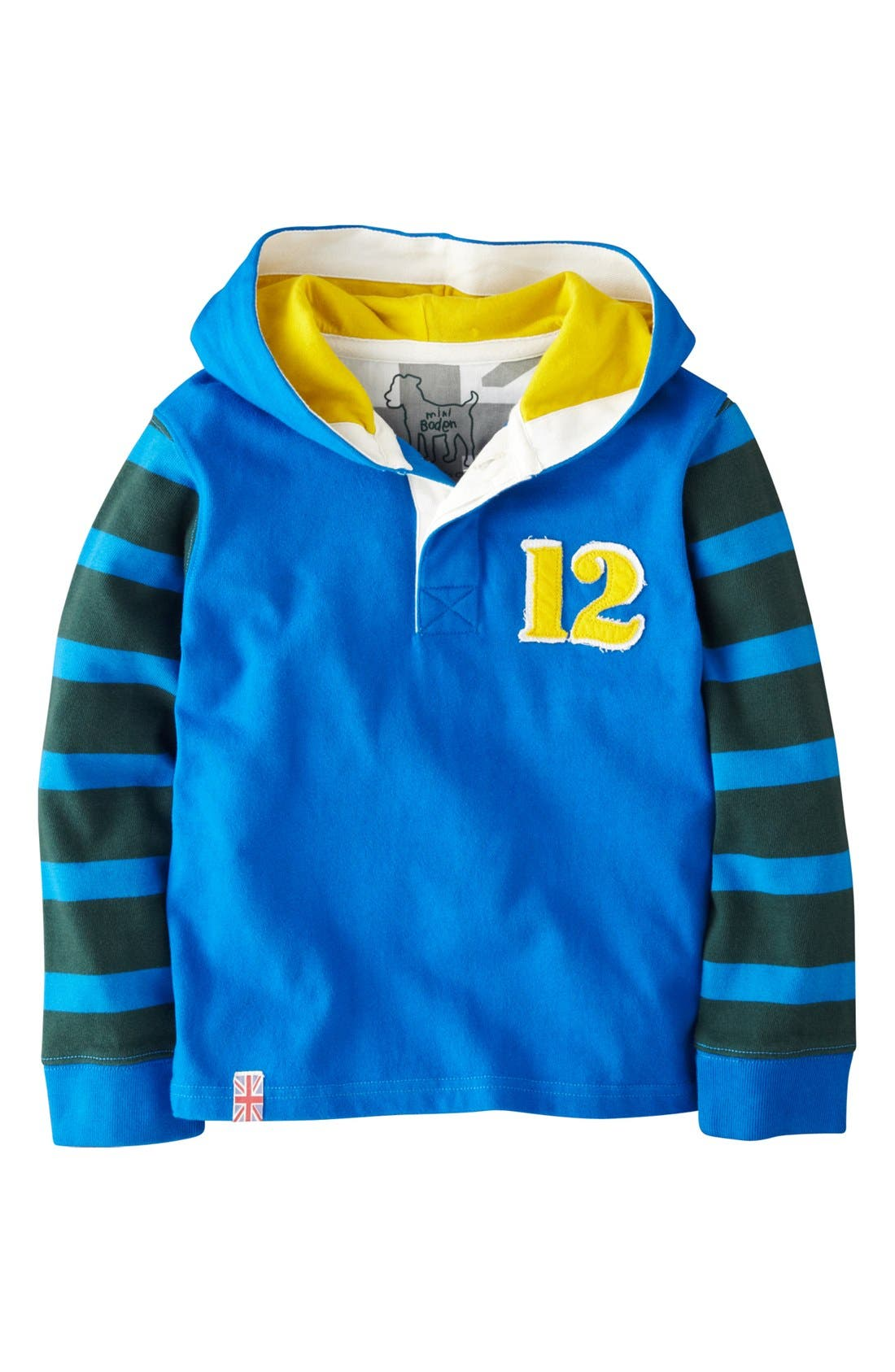 Alternate Image 1 Selected - Mini Boden Hooded Rugby Pullover (Toddler Boys, Little Boys & Big Boys)