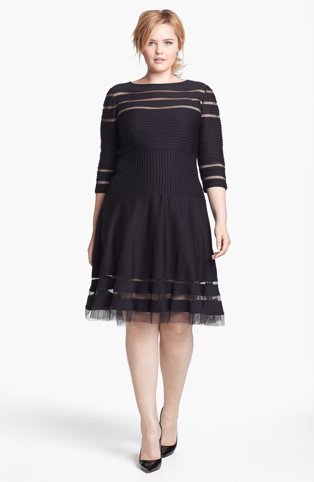 Main Image - Tadashi Shoji Mesh Stripe Fit & Flare Dress (Plus Size)