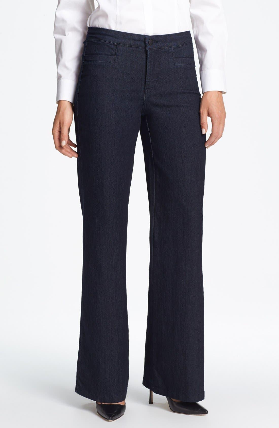 Alternate Image 1  - NYDJ 'Filipa' Stretch Wide Leg Jeans (Dark Enzyme)
