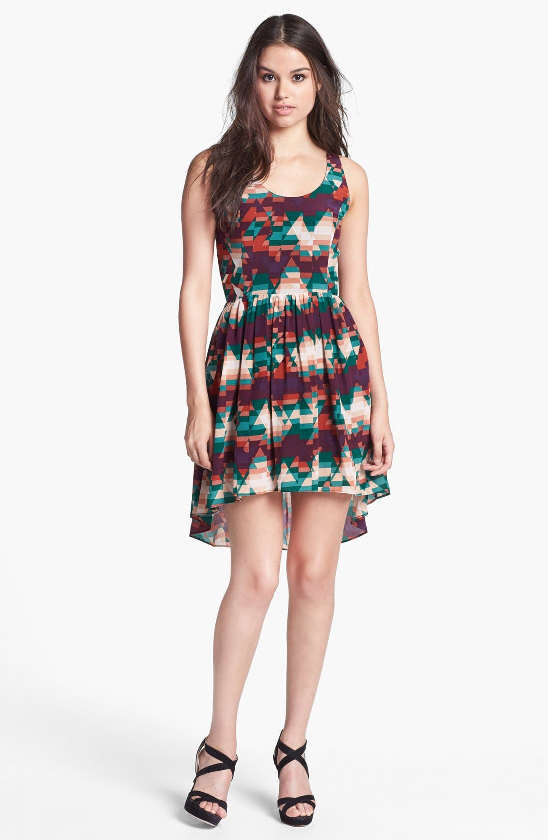 Main Image - Line & Dot Print High/Low Silk Dress