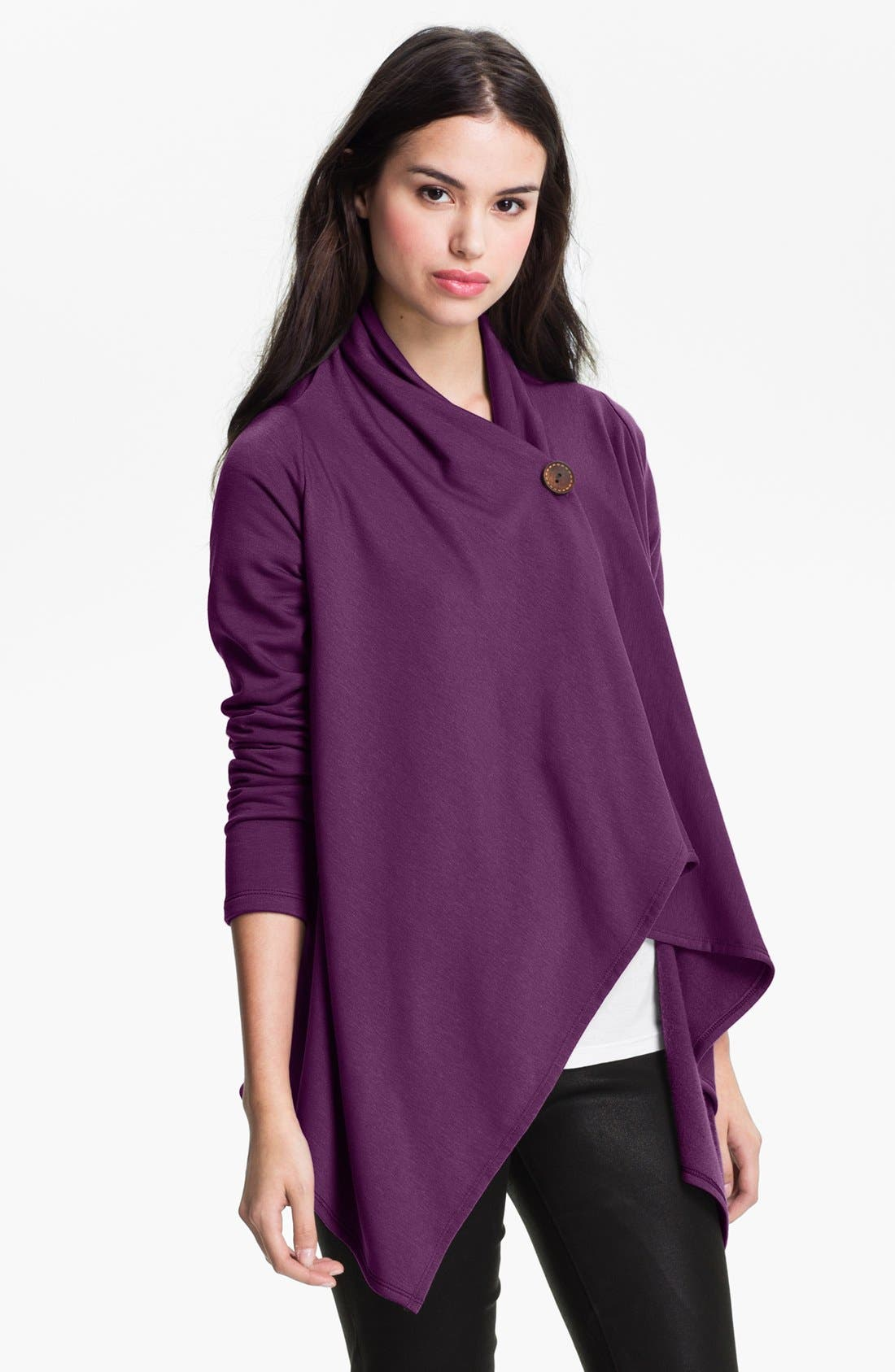 Alternate Image 1 Selected - Bobeau One-Button Fleece Wrap Cardigan (Regular & Petite)