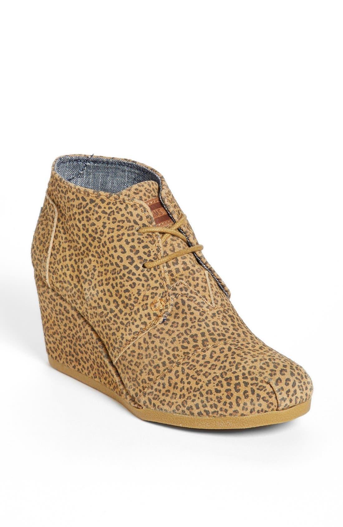 Main Image - TOMS 'Desert - Cheetah' Suede Wedge Bootie