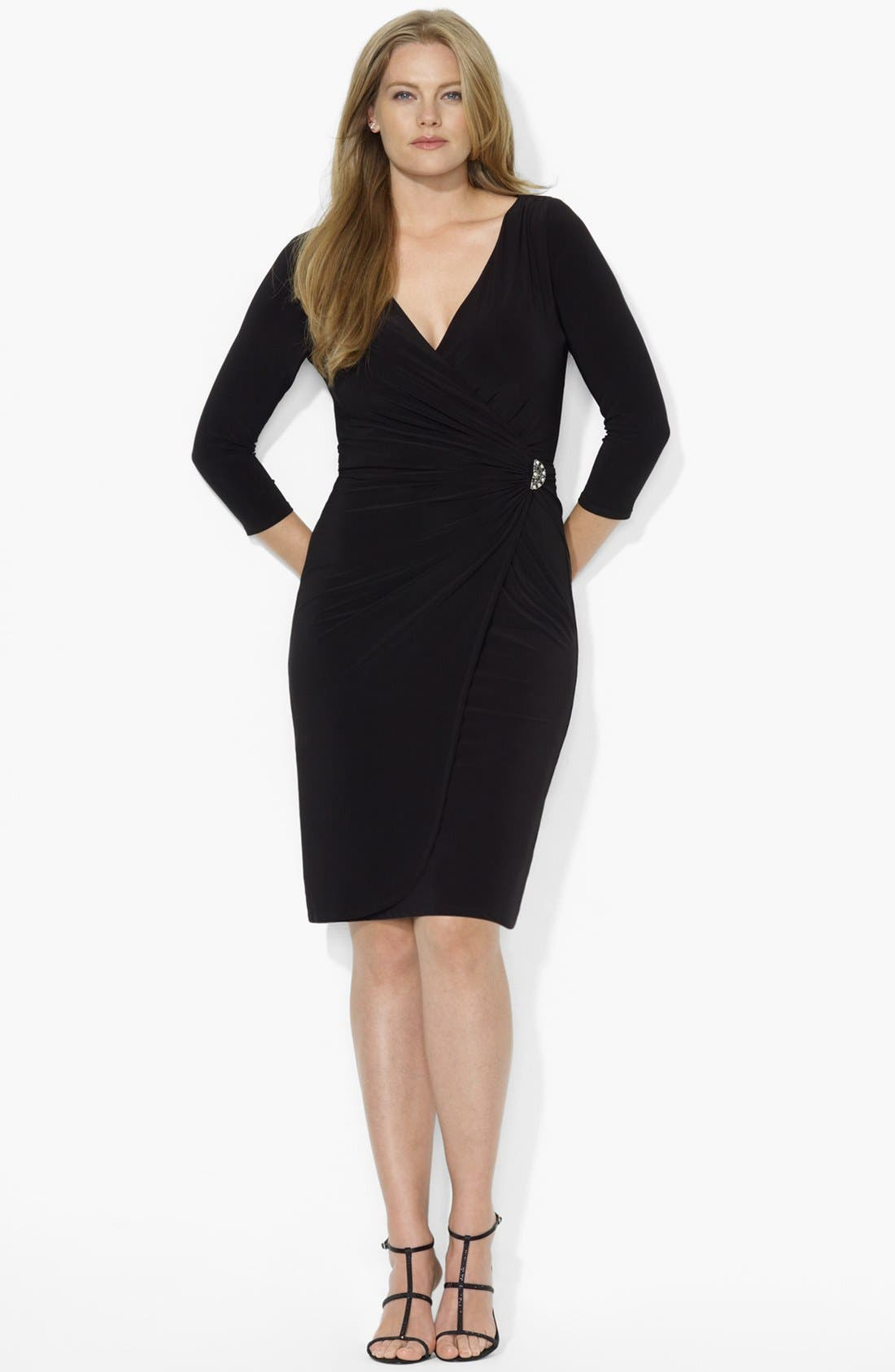 Alternate Image 1 Selected - Lauren Ralph Lauren Matte Jersey Faux Wrap Dress (Plus Size)