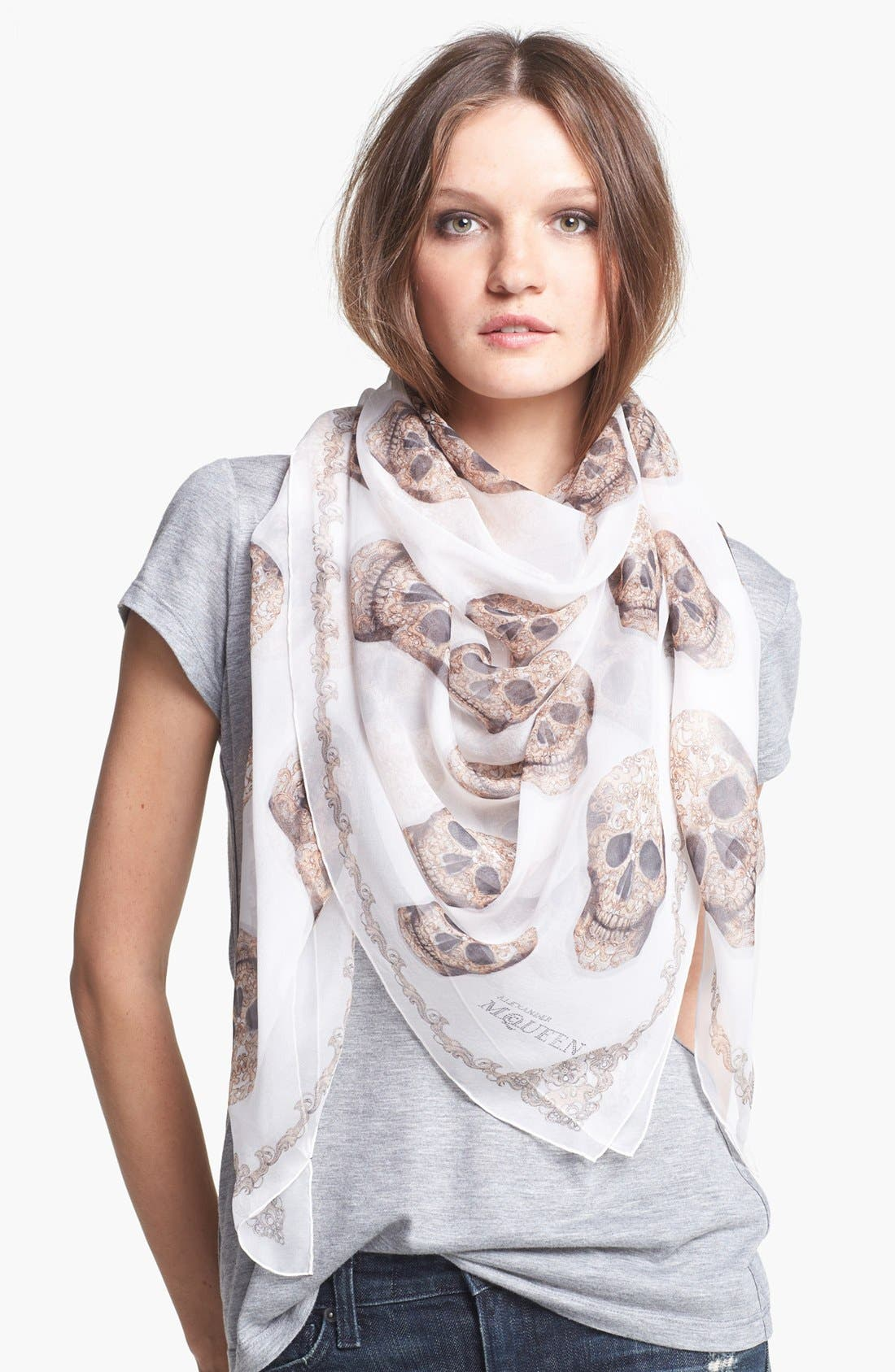 Alternate Image 1 Selected - Alexander McQueen 'Lacy Skull' Scarf