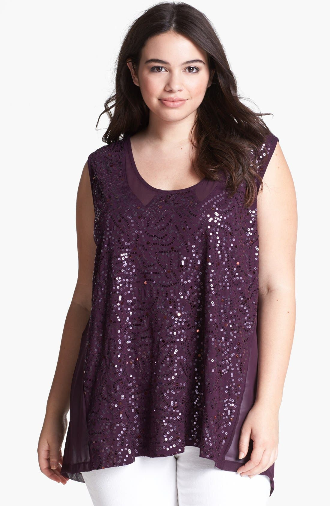 Alternate Image 1 Selected - Kische Sequin Mixed Media Tank (Plus Size)