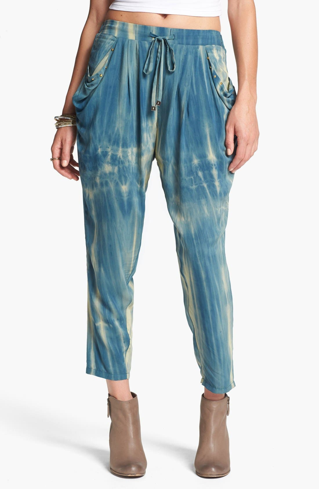 Alternate Image 1  - Blu Pepper Tie Dye Slouchy Pants (Juniors) (Online Only)