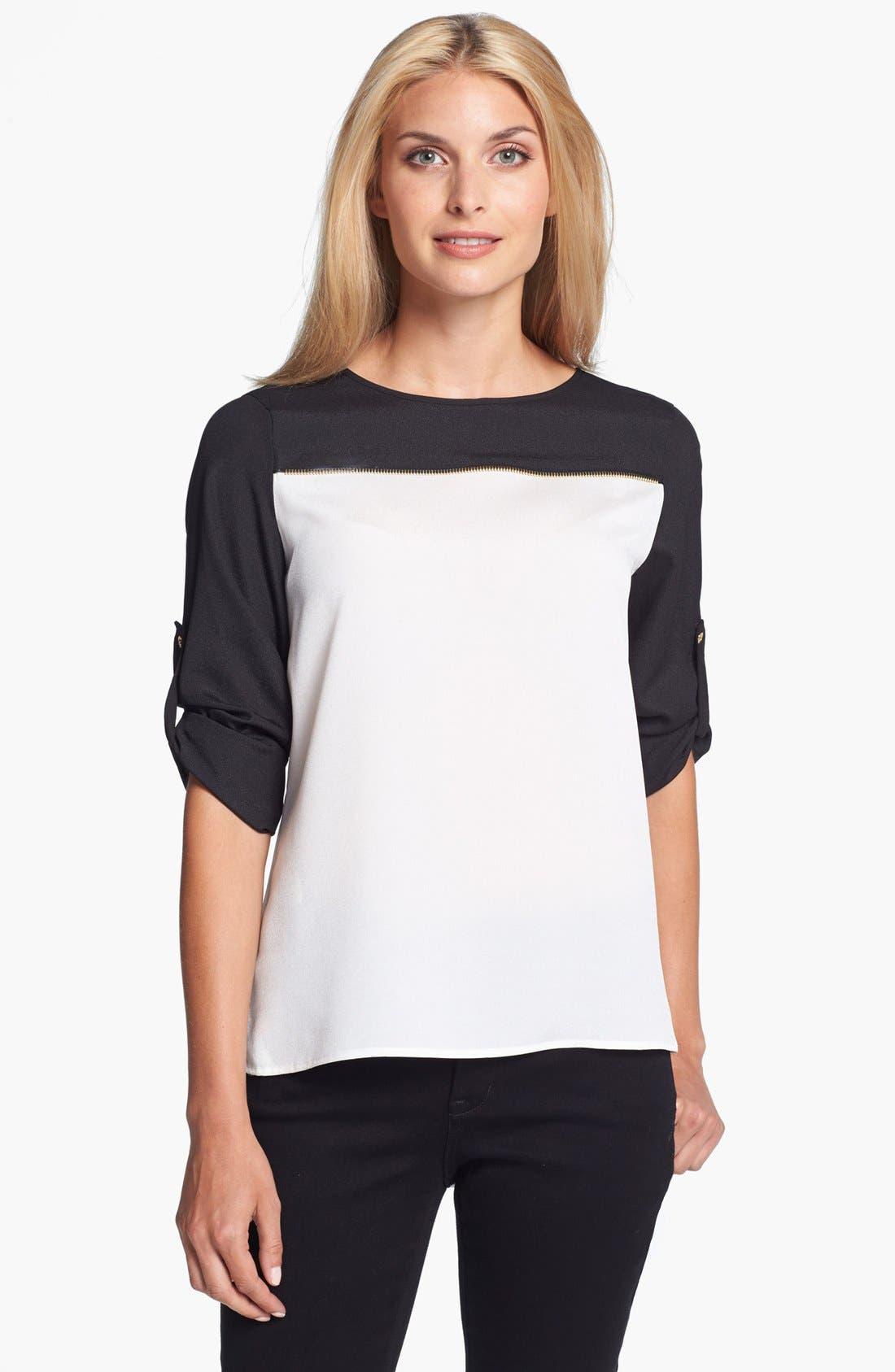 Alternate Image 1 Selected - Calvin Klein Zip Detail Colorblock Blouse