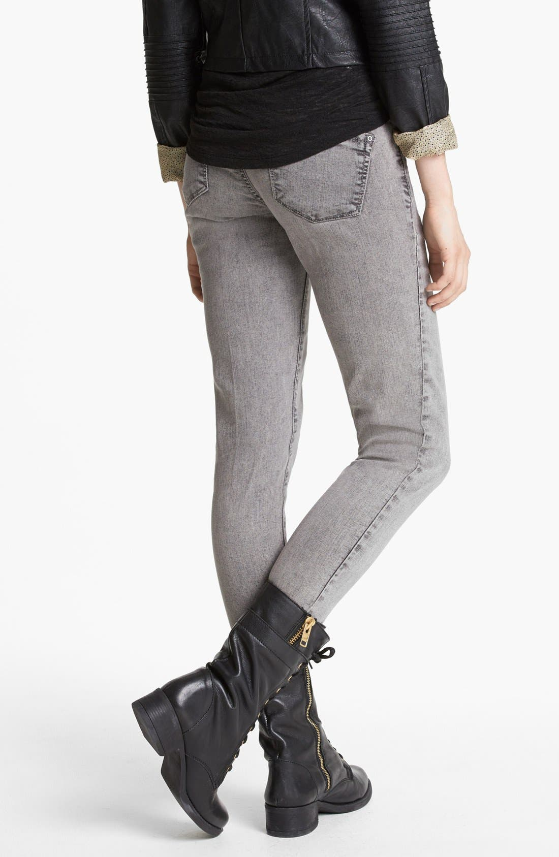 Alternate Image 2  - Jolt Acid Wash Skinny Jeans (Grey) (Juniors)