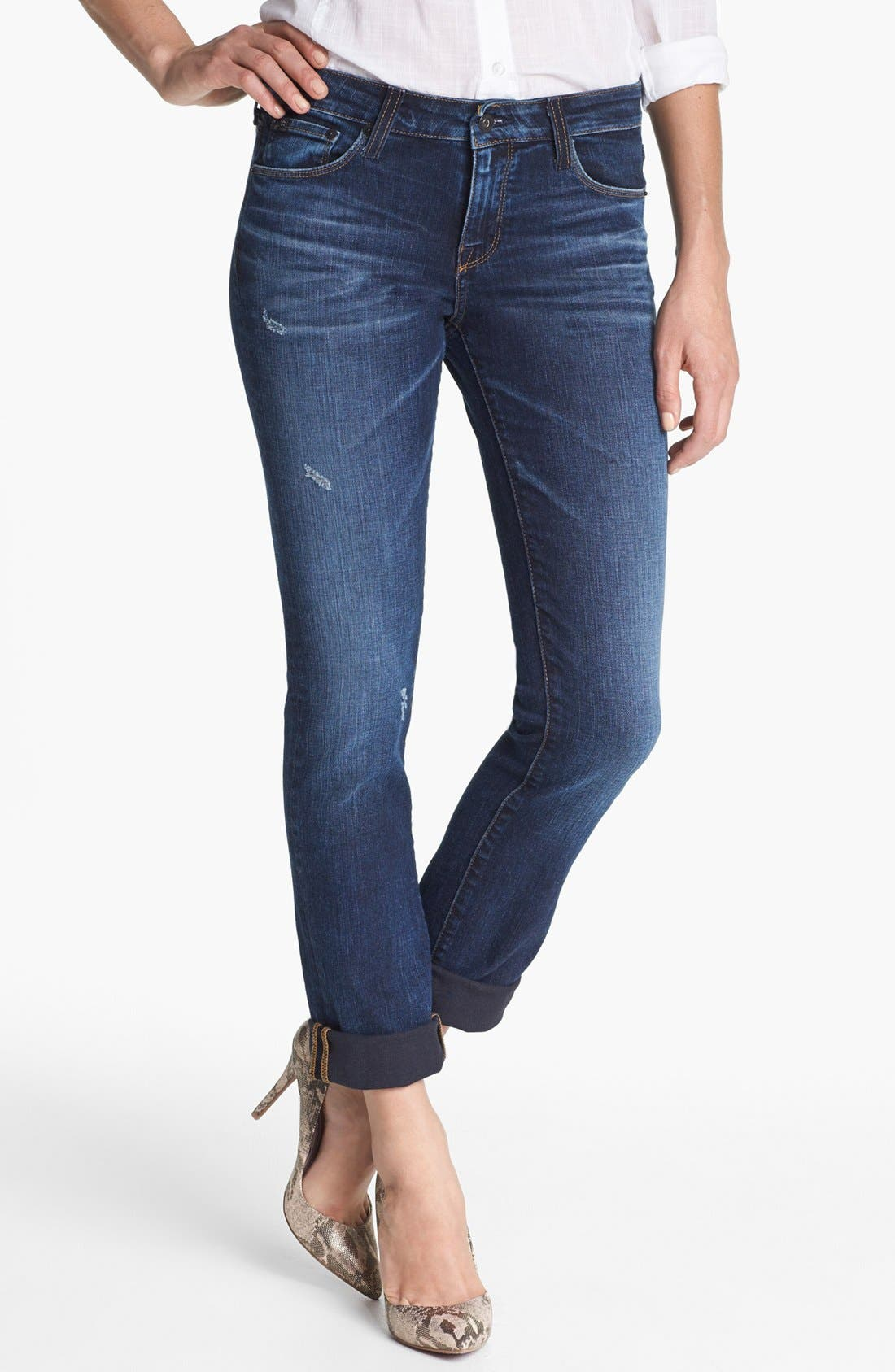 Alternate Image 1 Selected - Big Star 'Kate' Distressed Straight Leg Jeans (Three Year Malibu) (Petite)