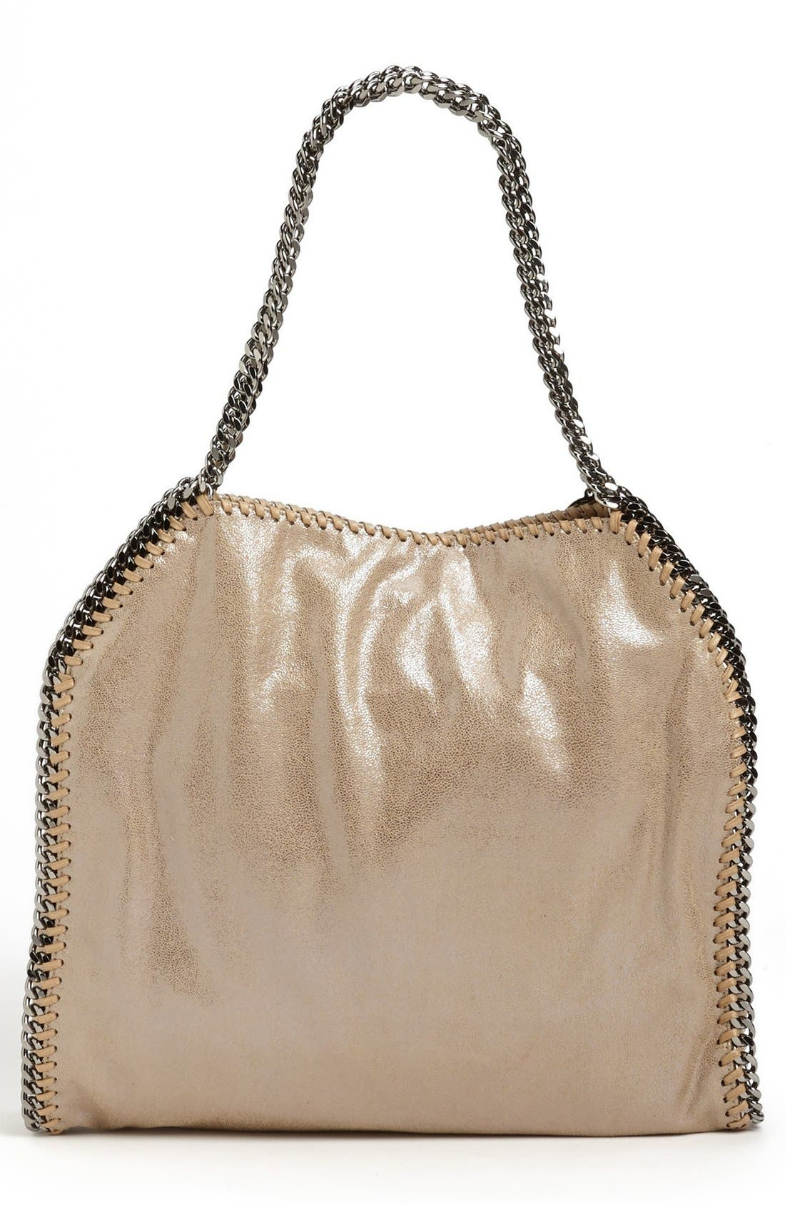 'Small Falabella' Faux Leather Tote,                             Alternate thumbnail 3, color,                             Redwood