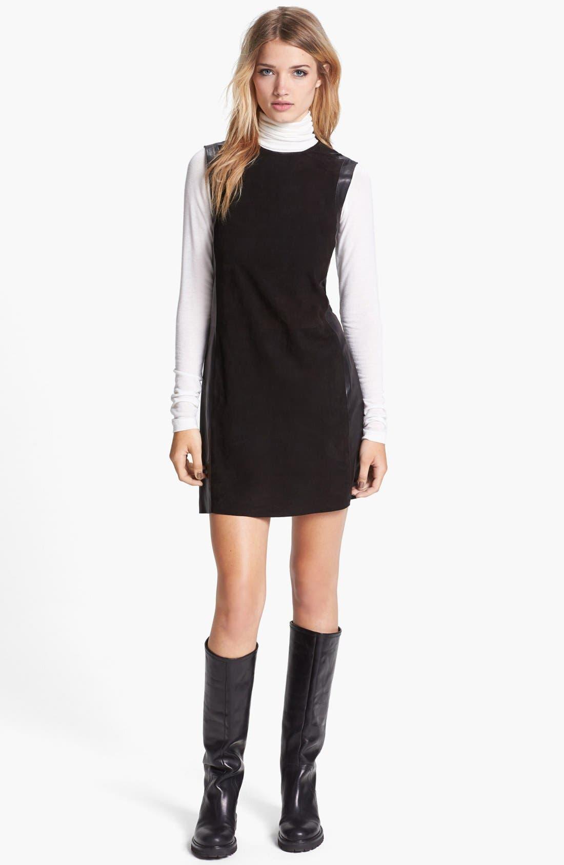 Main Image - Vince Leather Framed Suede Dress