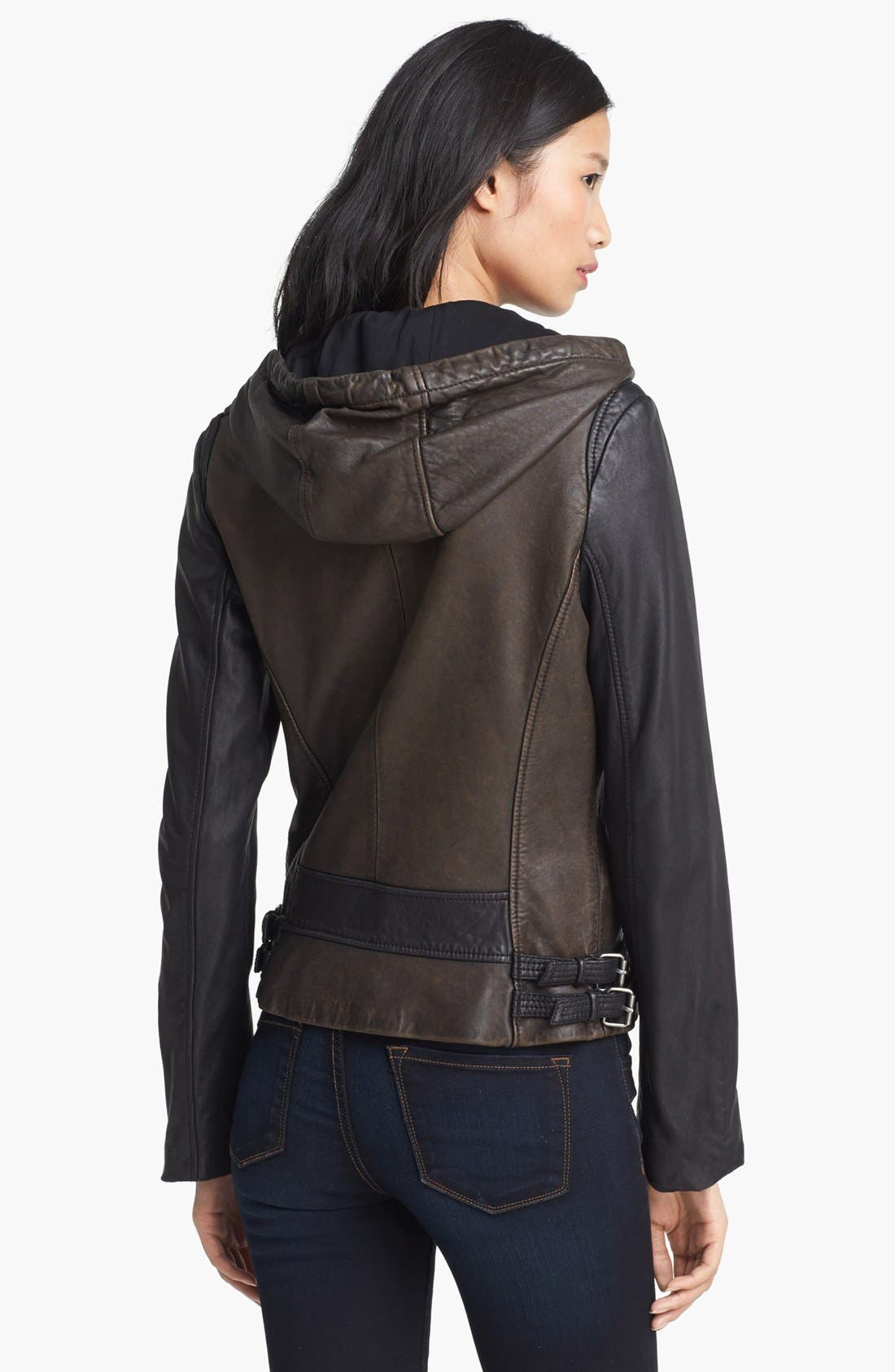 Alternate Image 2  - MICHAEL Michael Kors Hooded Colorblock Leather Jacket (Nordstrom Exclusive)