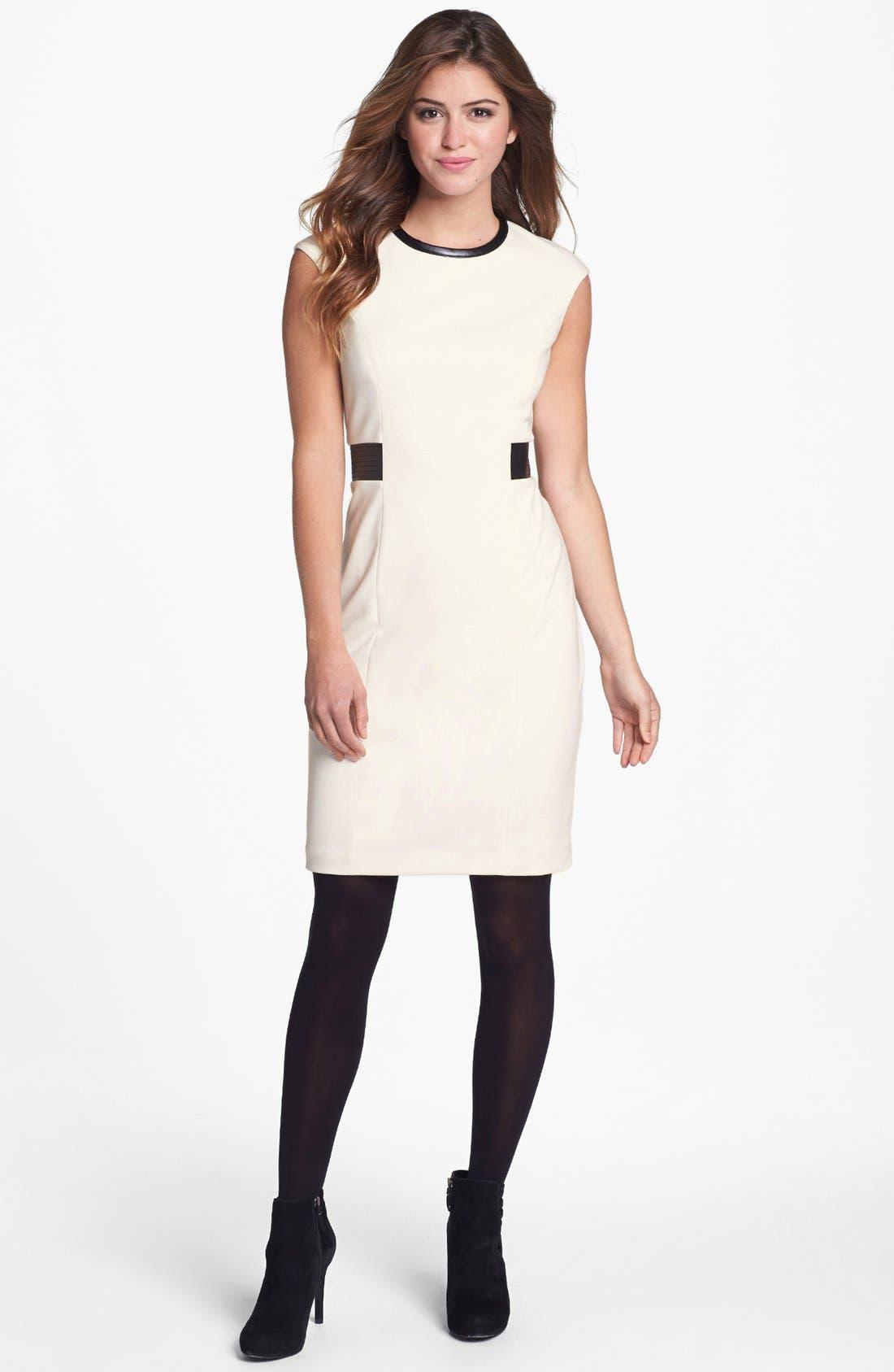 Main Image - Calvin Klein Faux Leather Trim Ponte Sheath Dress (Online Only)