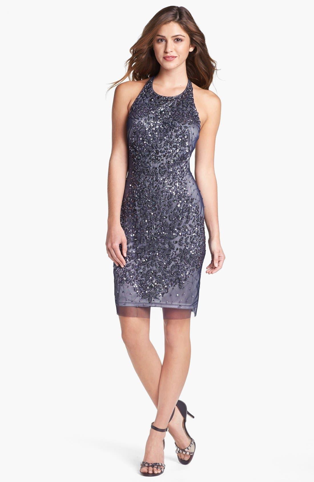 Alternate Image 1 Selected - Adrianna Papell Embellished Mesh Dress
