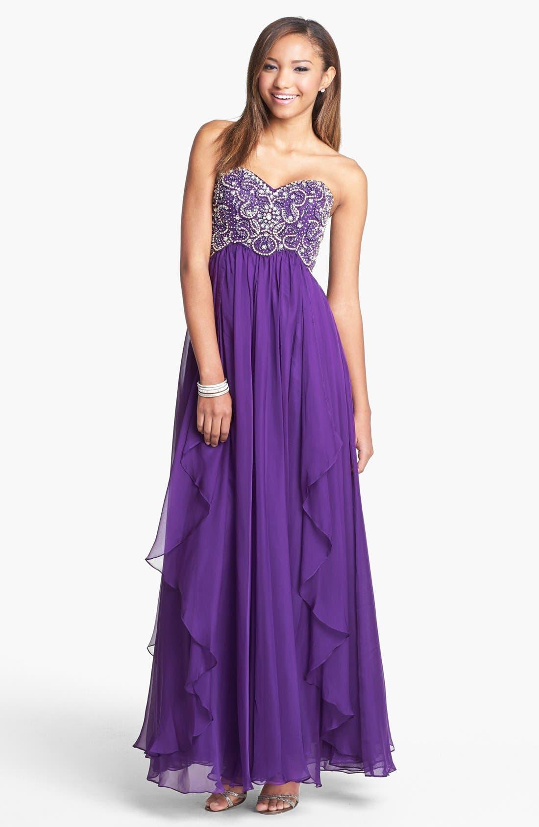 Main Image - Sherri Hill Embellished Bodice Draped Chiffon Gown