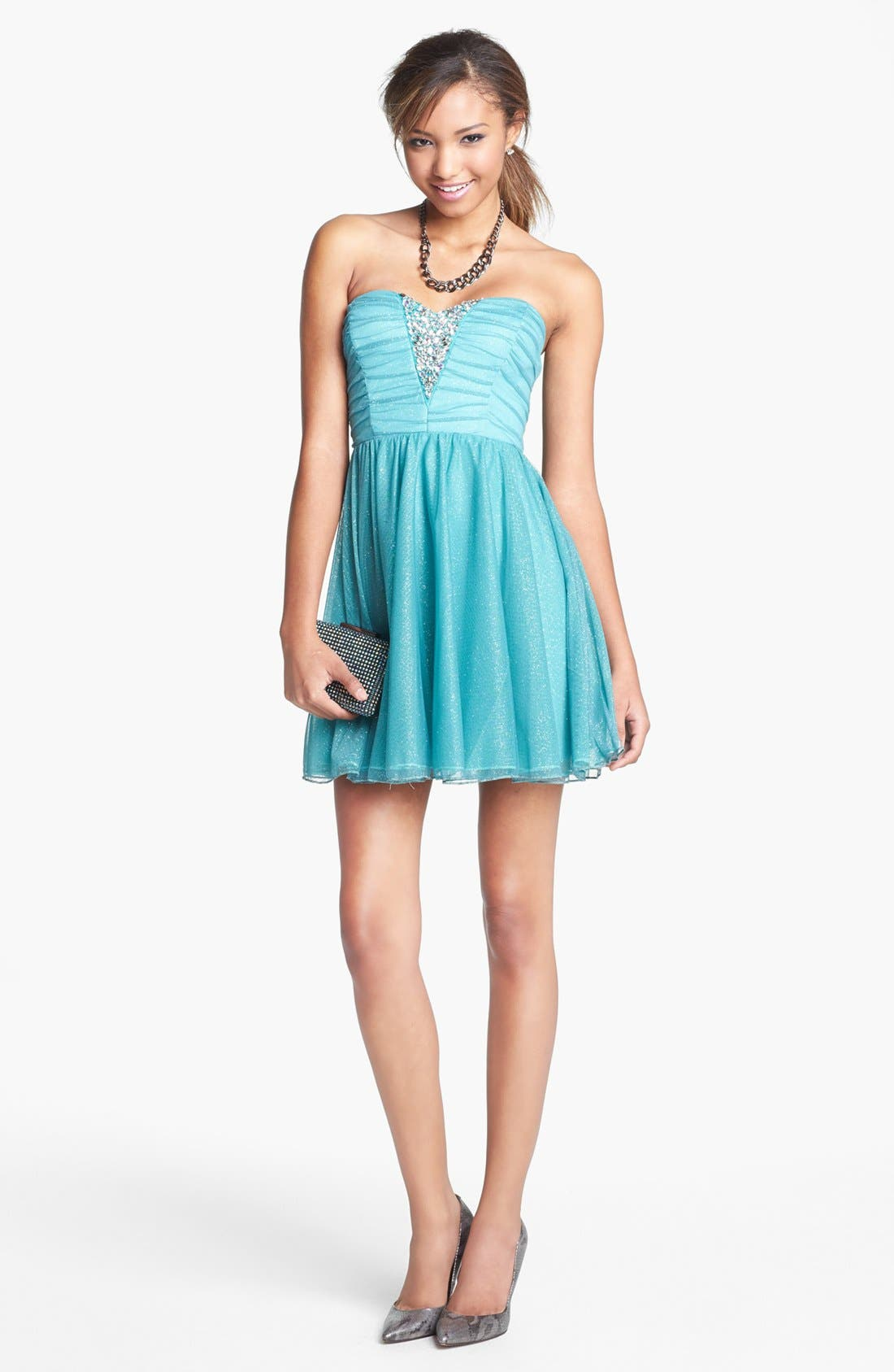 Alternate Image 1 Selected - Trixxi Strapless Ruched Party Dress (Juniors) (Online Only)