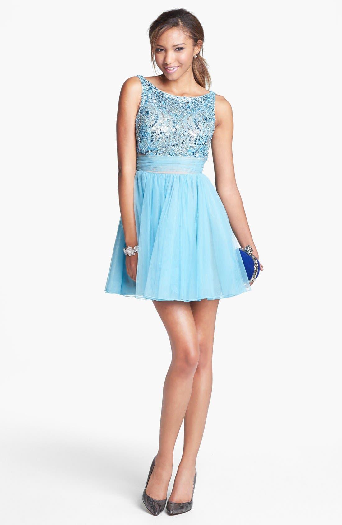 Alternate Image 1 Selected - Sherri Hill Embellished Tulle Fit & Flare Dress