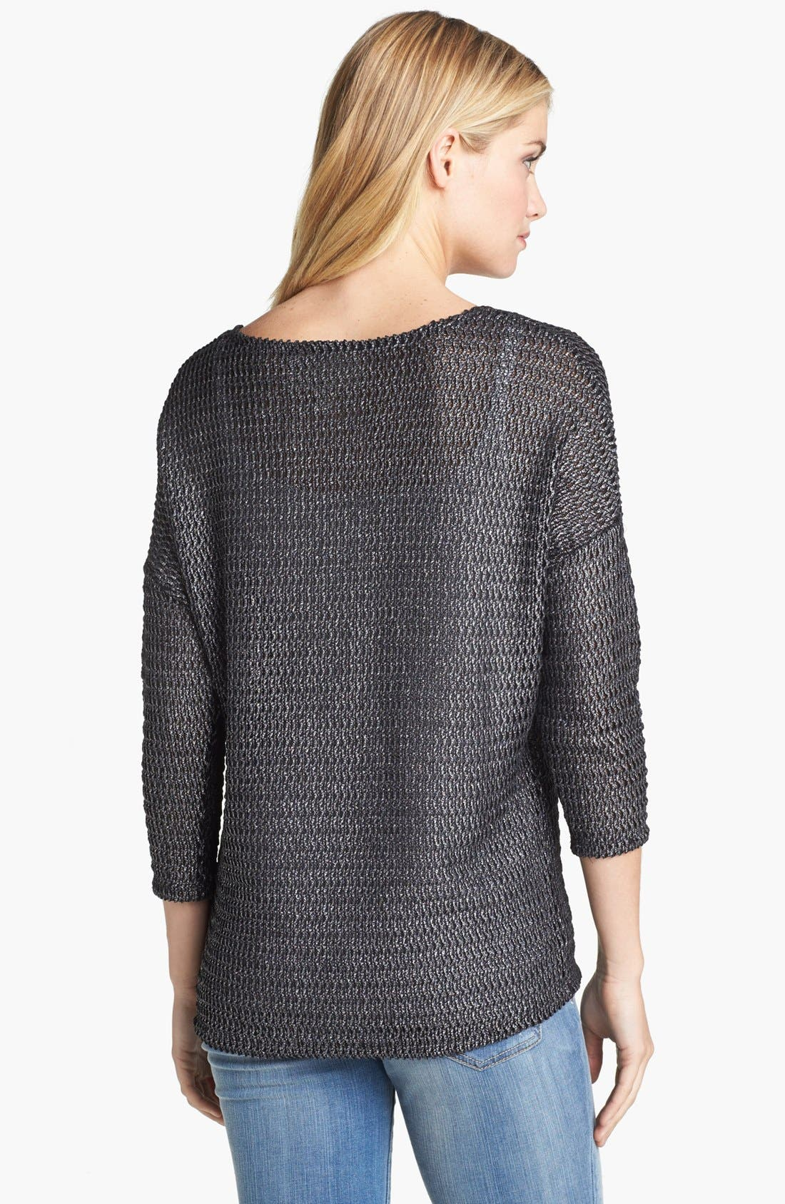 Alternate Image 2  - Two by Vince Camuto Metallic Open Knit Sweater