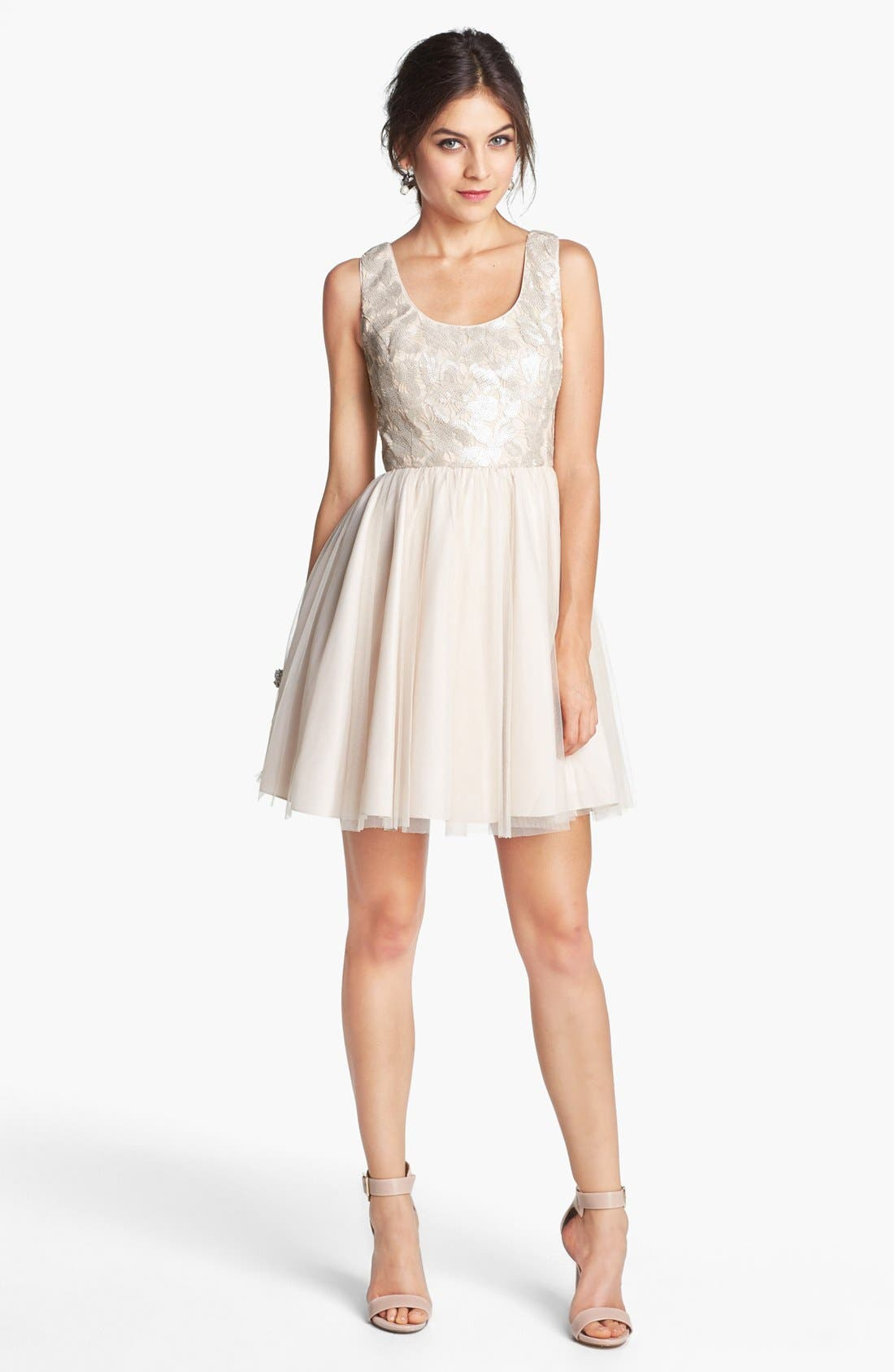 Alternate Image 3  - Aidan by Aidan Mattox Embellished Tulle Fit & Flare Dress
