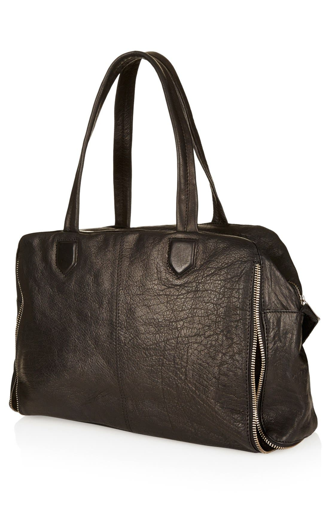 Alternate Image 3  - Topshop Leather Crossbody Tote, Large