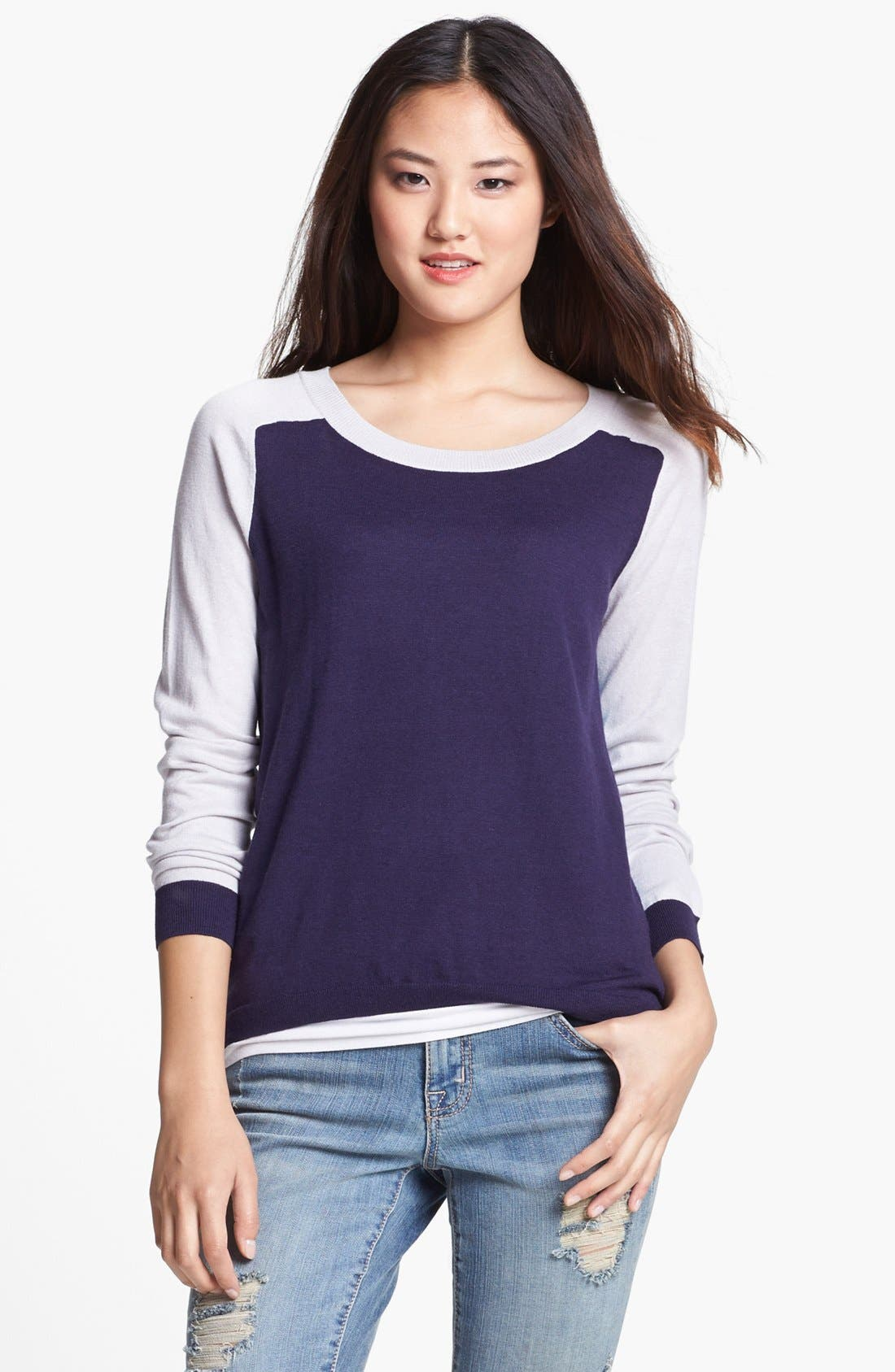 Alternate Image 2  - Caslon® Crewneck High/Low Sweater