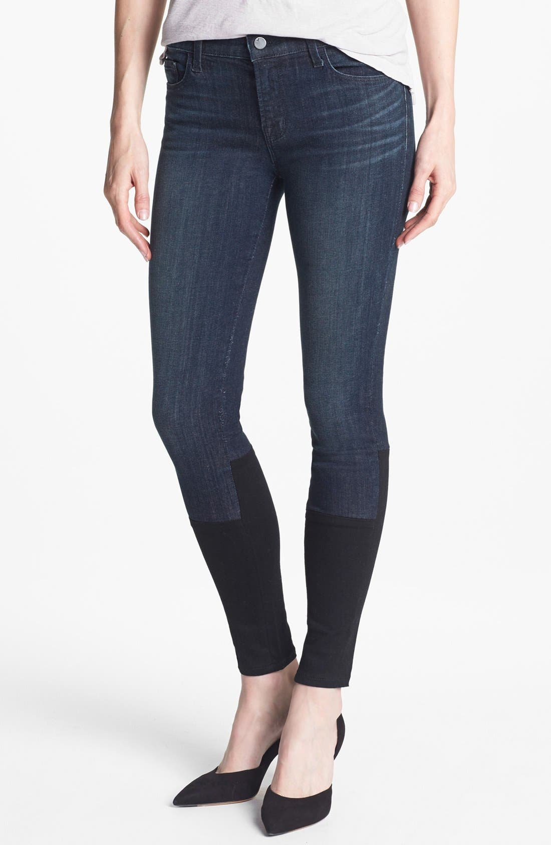 Alternate Image 1 Selected - J Brand '8066' Mid Rise Step Hem Skinny Jeans (Snowbird)