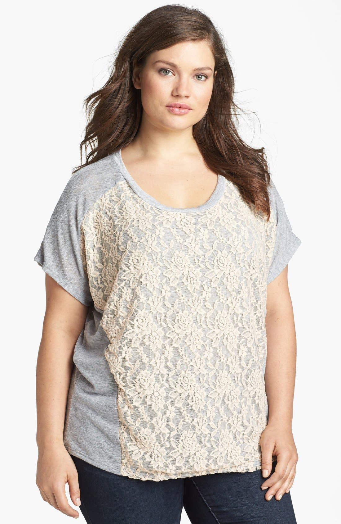 Alternate Image 1 Selected - Olivia Moon Lace Front Tee (Plus Size)