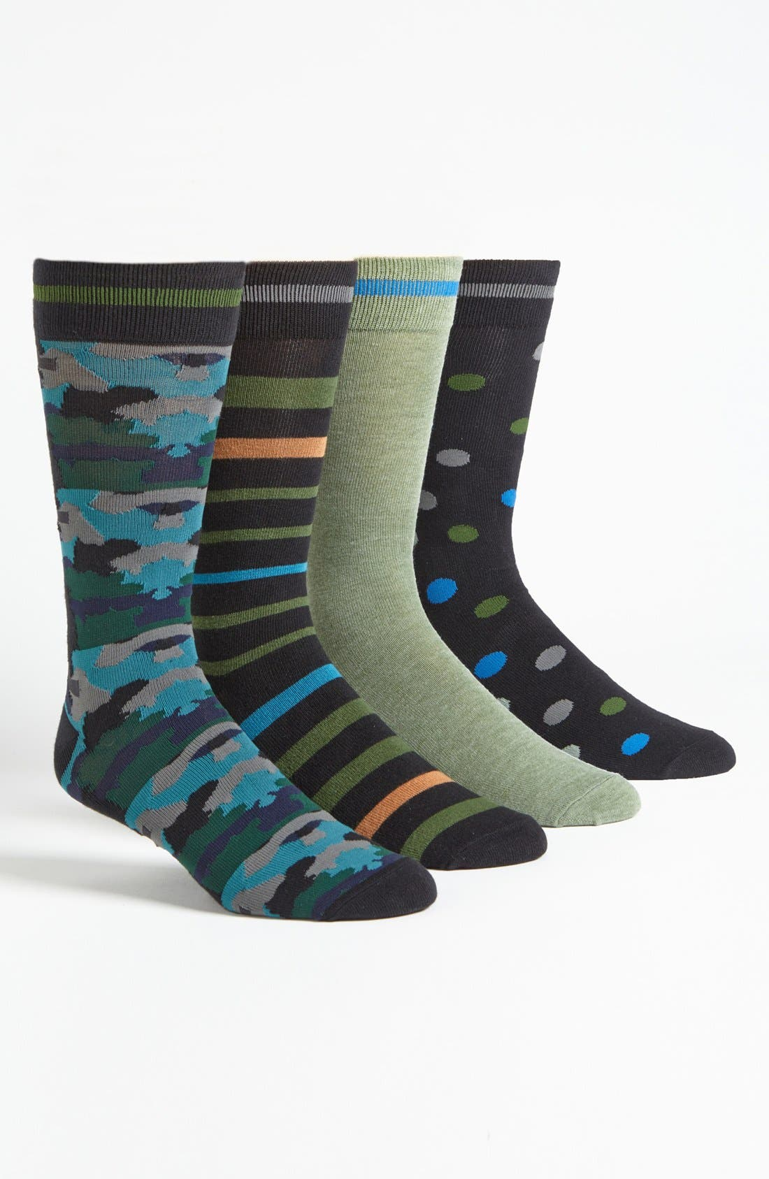 Alternate Image 1 Selected - Basic Sock 'Bottoms Out' Pattern Socks (4-Pack)