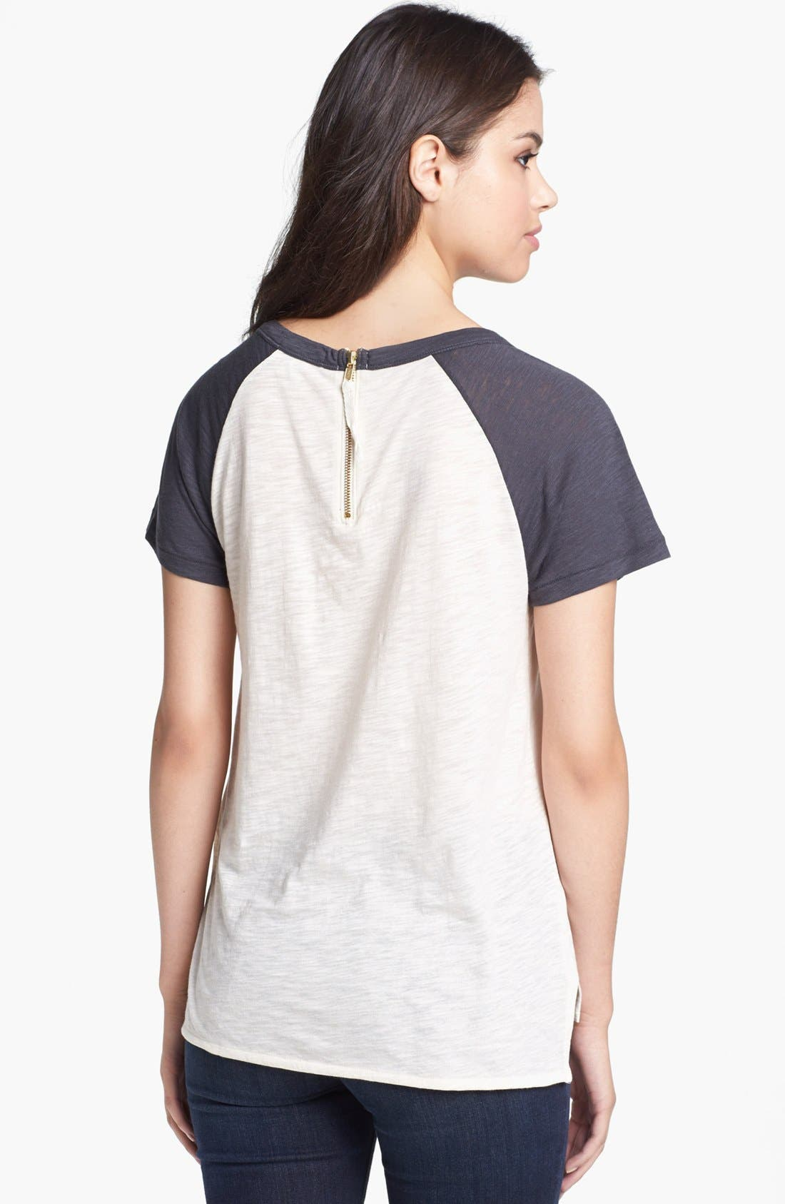 Alternate Image 2  - Lucky Brand Zip Back Graphic Tee