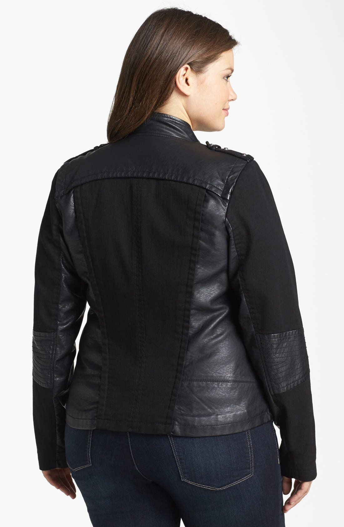 Alternate Image 3  - City Chic 'Suri' Faux Leather Spliced Jacket (Plus Size)