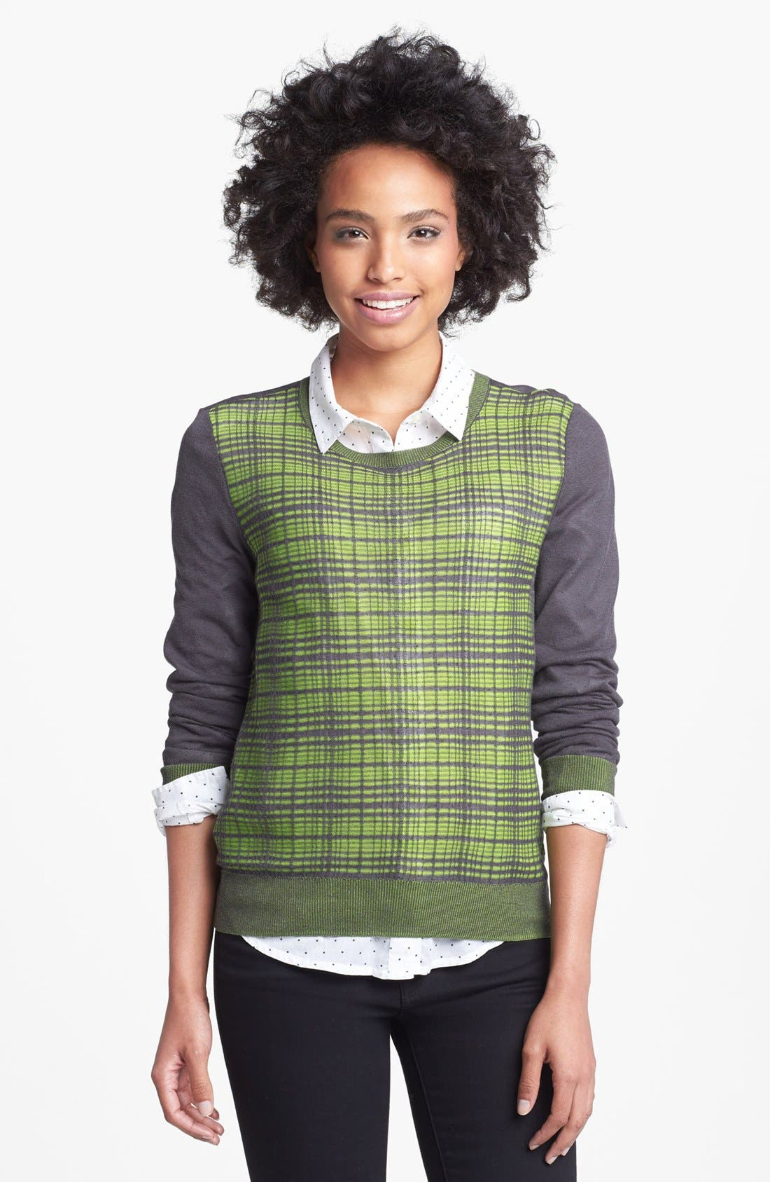 Alternate Image 1 Selected - Halogen® Plaid Colorblock Sweater (Regular & Petite)
