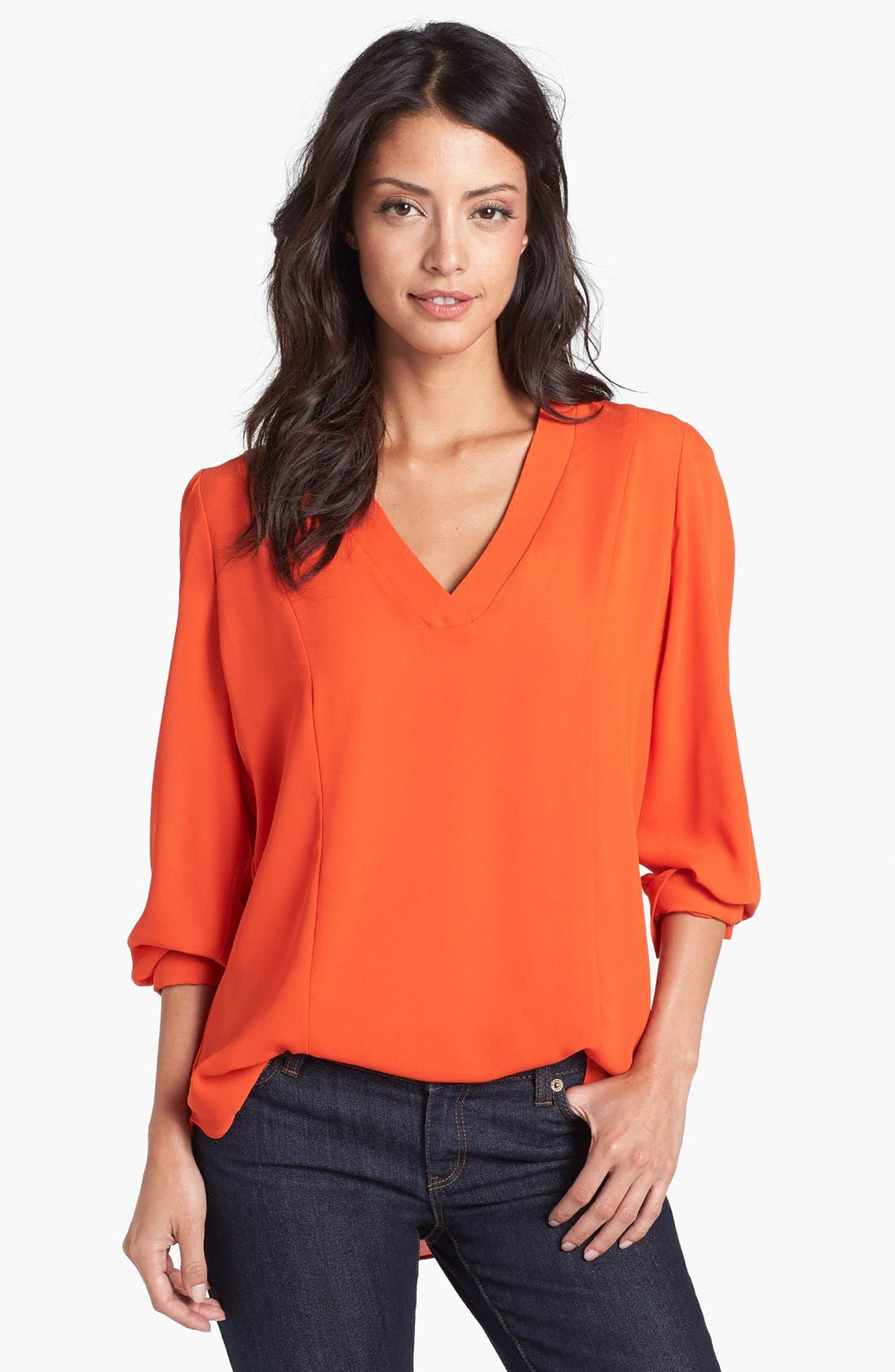 Alternate Image 1 Selected - Eight Sixty V-Neck Blouse (Petite)