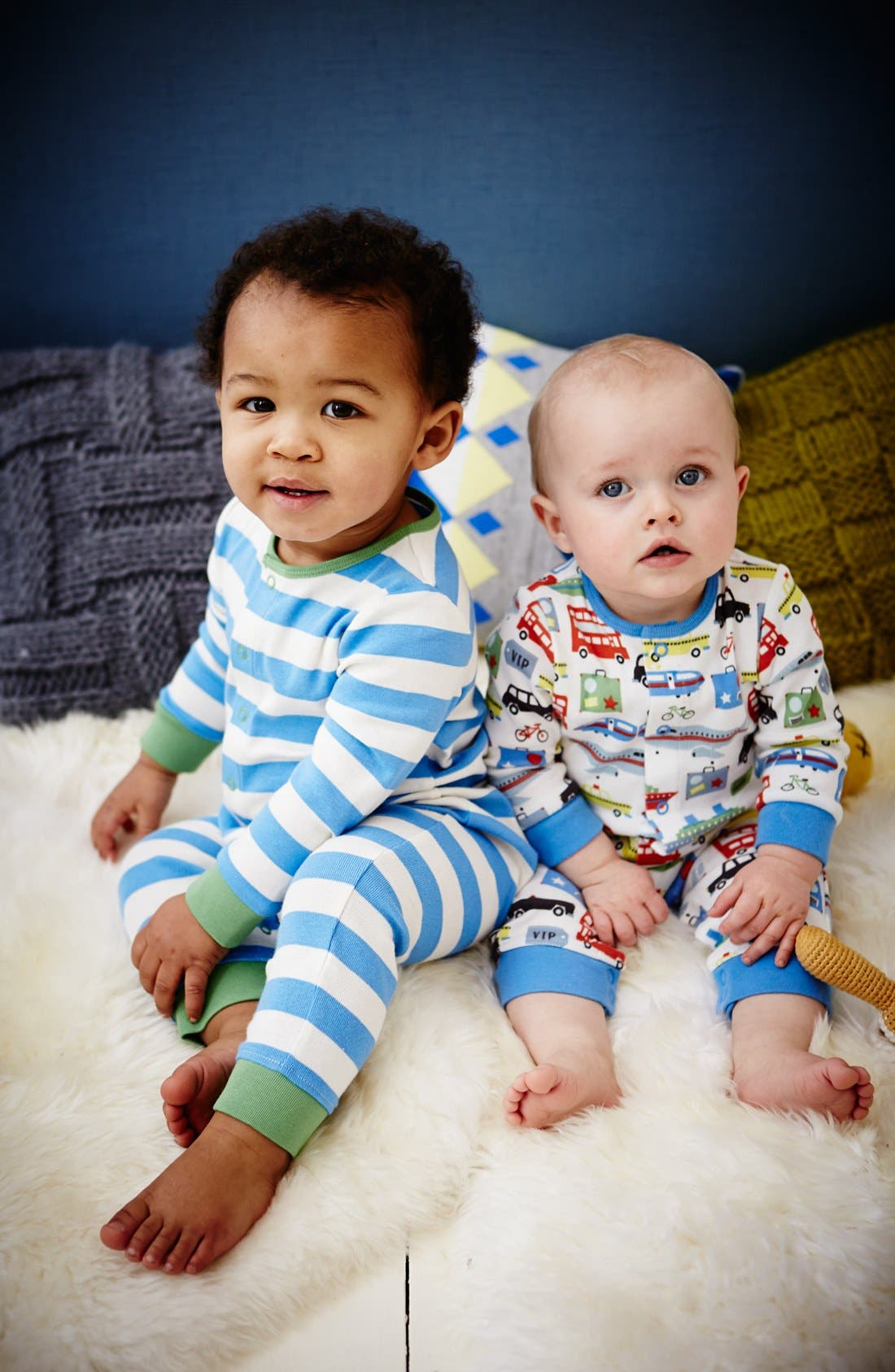 Alternate Image 2  - Mini Boden Print Romper (2-Pack) (Baby Boys)