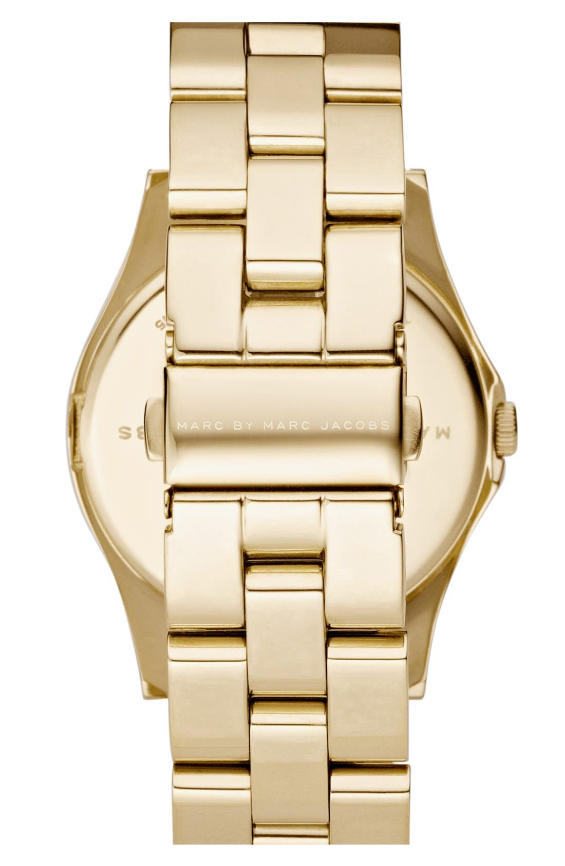 'Henry' Stainless Steel Watch,                             Alternate thumbnail 2, color,                             Gold / Crystal