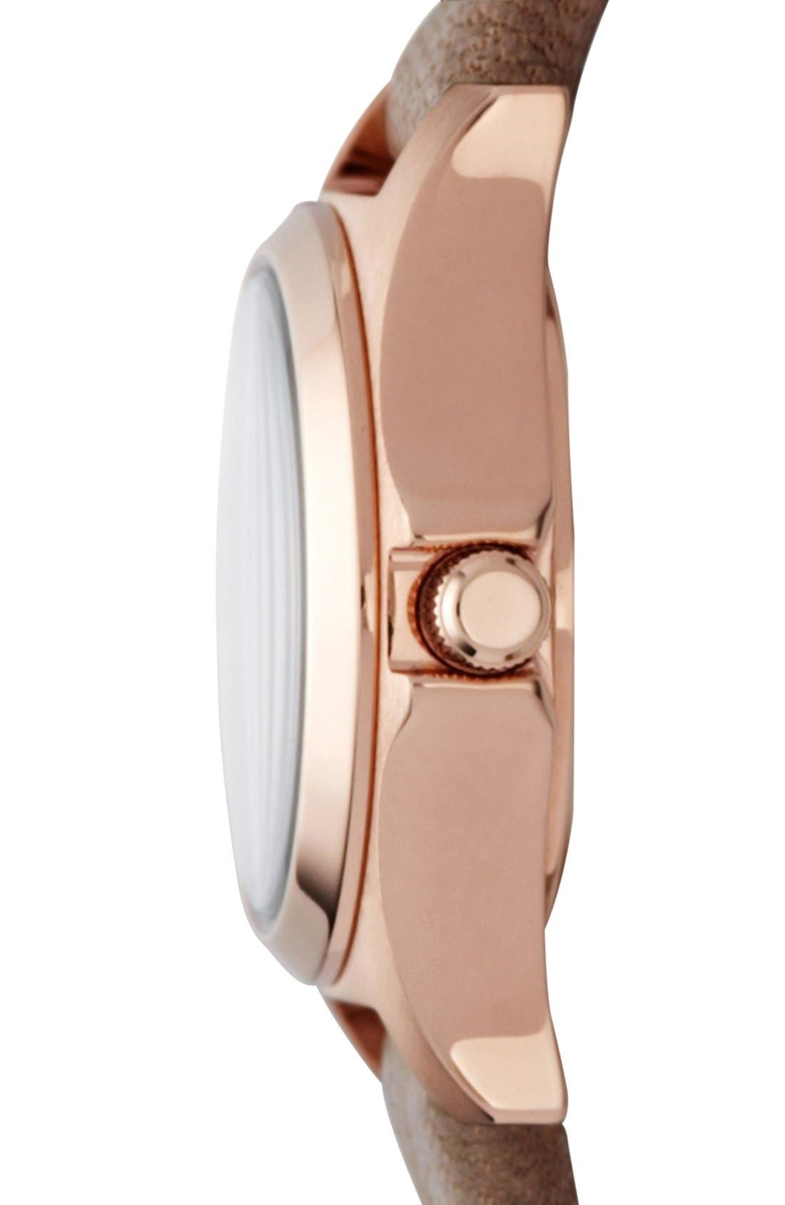 'Henry Dinky' Leather Strap Watch,                             Alternate thumbnail 3, color,                             Gingersnap/ Rose Gold