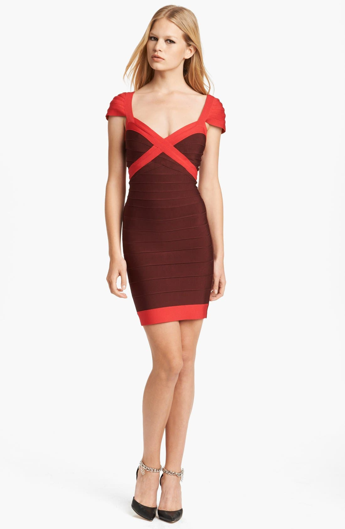 Main Image - Herve Leger Cap Sleeve Bandage Dress