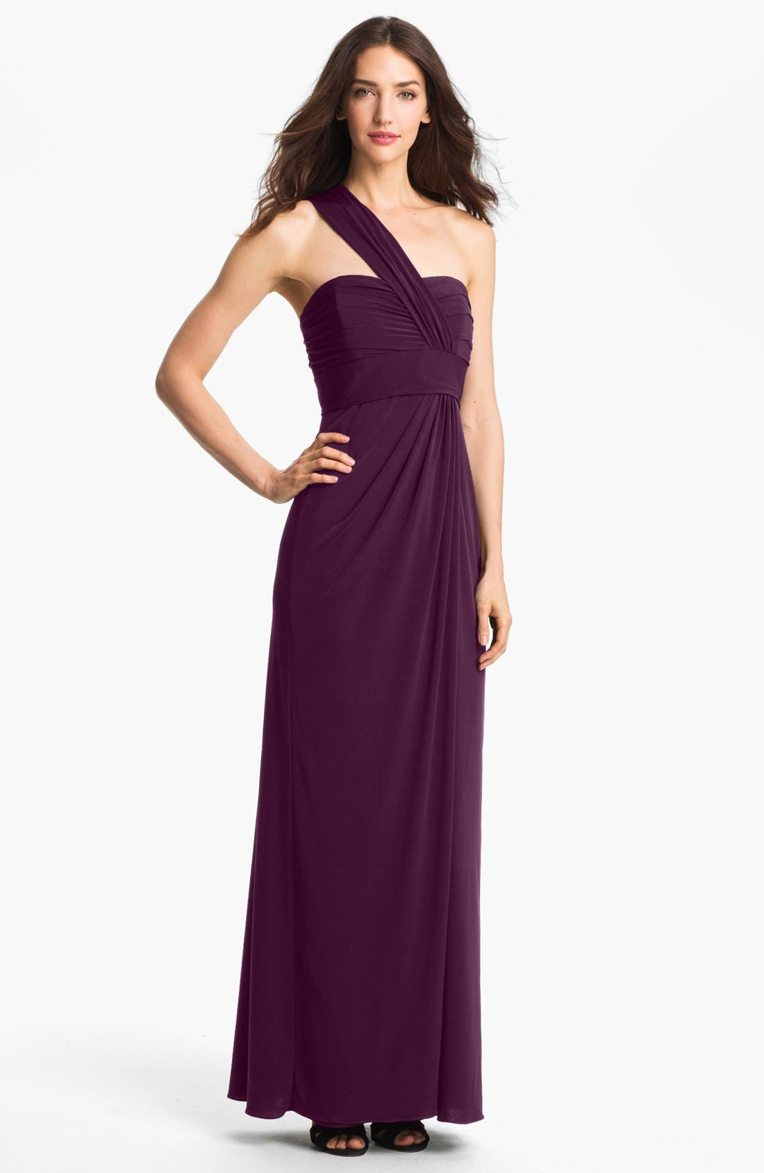 Alternate Image 1 Selected - Amsale One-Shoulder Jersey Dress