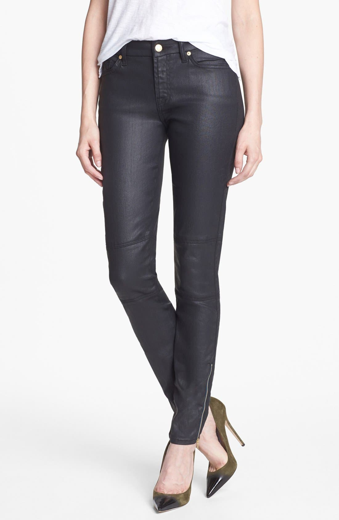Main Image - 7 For All Mankind® Coated Skinny Jeans (Black)